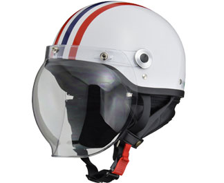 CROSS HALF HELMET WHT/red.blue LINE
